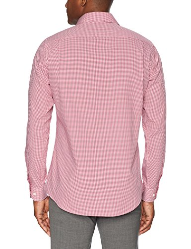 Buttoned Down Men's Tailored Fit Spread-Collar Pattern Non-Iron Dress Shirt, Burgundy Small Gingham, 15'' Neck 33'' Sleeve by Buttoned Down (Image #4)