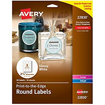 amazon com avery round labels glossy white 2 5 inch size 90