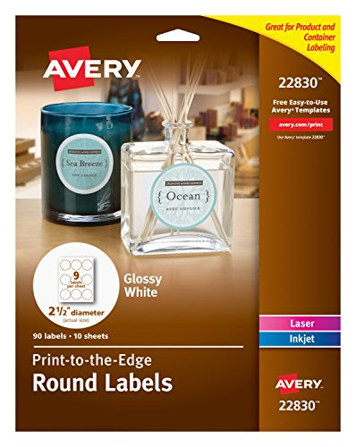 Avery Round Labels, Glossy White, 2.5-Inch Size, 135 Labels – Great for Mason Jar Labels (44830)