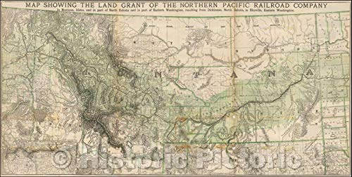 Historic Map   Showing The Land Grant of the Northern Pacific Railroad Company In Montana, Idaho and in parts of North Dakota and in part of East Washington, 1890 v3 48in x 24in