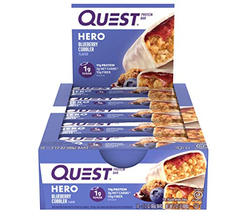 Quest Nutrition Blueberry Cobbler Hero Protein bar Low Carb Gluten Free 10Count