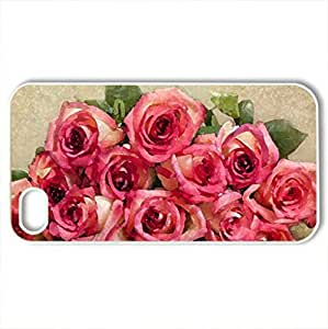 Romance - Case Cover for iPhone 4 and 4s (Flowers Series, Watercolor style, White)