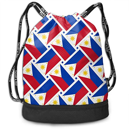 52762406c0a4 Philippines Flag Weave Drawstring Bag Rucksack Shoulder Bags Travel Sport  Gym Bag Print - Yoga Runner Daypack Shoe Bags with Zipper and Pockets