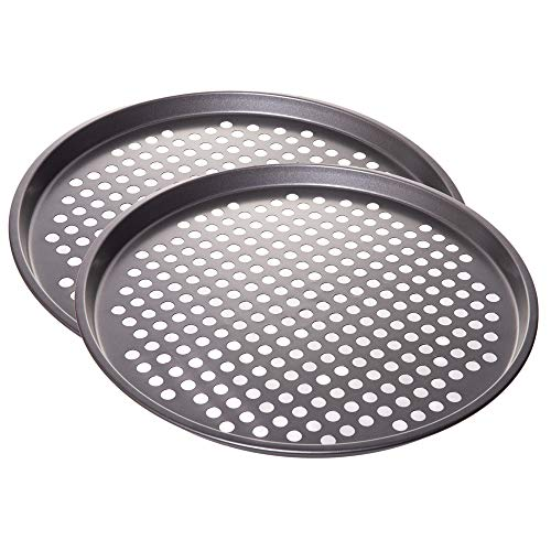 Nonstick Coating Carbon Steel Pizza Baking Pan - Crisper with Holes, 13