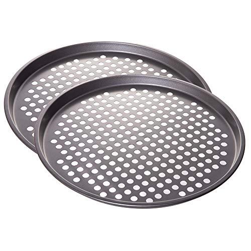 "Nonstick Coating Carbon Steel Pizza Baking Pan - Crisper with Holes, 13""- Set of 2"