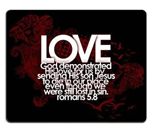 Love God Writing Mouse Pads Customized Made to Order Support Ready 9 7/8 Inch (250mm) X 7 7/8 Inch (200mm) X 1/16 Inch (2mm) High Quality Eco Friendly Cloth with Neoprene Rubber MSD Mouse Pad Desktop Mousepad Laptop Mousepads Comfortable Computer Mouse Mat Cute Gaming Mouse_pad