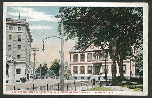 Old State House & Naval YMCA from Washington Mall Newport RI postcard 1910s