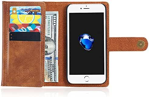 Leather Trifold Wallet Phone Case Magnetic Back Case Protective Flip Cover with Card Slots for Iphone/Samsung