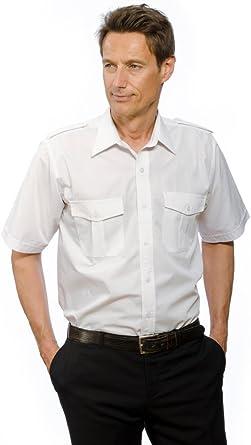 Camisa de piloto, 100% algodón, solapas de los hombros extraíbles, de manga corta, para hombre, color blanco Weiß XXXXXXXL / 57/58 : Amazon.es: Ropa y accesorios