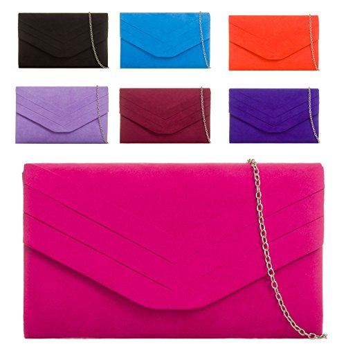 KL809 Faux Envelope Pleated Handbag Rust Ladies Bag Red Suede Women's Purse Evening Bag Clutch Pqxwp6Ed