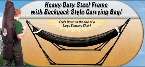 High-Grade Foldable Hammock (Black) Folding Hammock with Carrying Bag