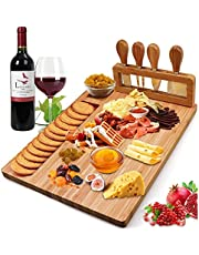 Widousy Bamboo Cheese Board Set, Charcuterie Platter and Serving Meat Board Including 4 Stainless Steel Knife and Serving Utensils, Unique Gifts for Christmas Wedding Birthday Anniversary(14''x11'')