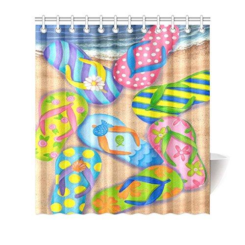 夏ヒトデFlip Flop onビーチ防水バスルーム用装飾ファブリックシャワーカーテンポリエステル66 x 72インチ B073RNY1VW