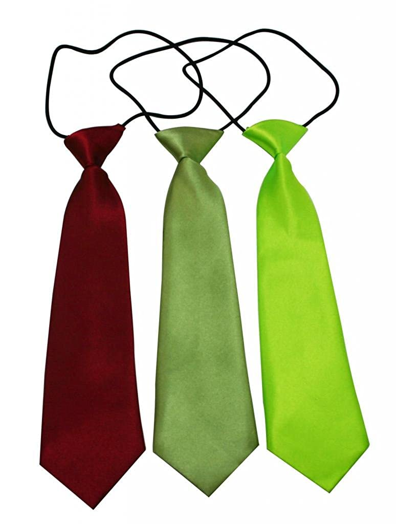 Yongshida Boys Polyester Elastic Neck Tie Dark Red Green and Cyan Assorted