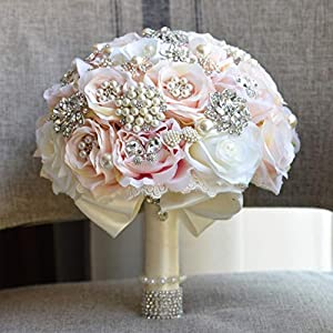 ZTXY Bridal Bouquet Wedding Bouquets Wedding Holding Flowers with Rhinestone and Pearl Champagne Artificial Fake Rose Flower Bridesmaid Wedding Decoration Bouquets 110