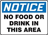 "Accuform Signs MHSK801VP Plastic Safety Sign, Legend ""NOTICE NO FOOD OR DRINK IN THIS AREA"", 7"" Length x 10"" Width x 0.055"" Thickness, Blue/Black on White"