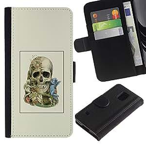 All Phone Most Case / Oferta Especial Cáscara Funda de cuero Monedero Cubierta de proteccion Caso / Wallet Case for Samsung Galaxy S5 V SM-G900 // Two Faced Skull