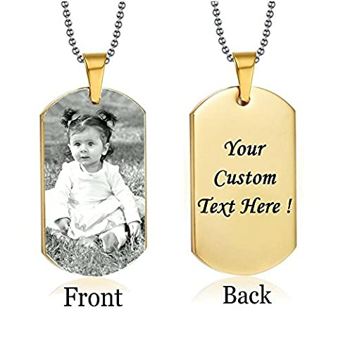 Personalized Custom Photo Color and Engraved Dog Tag Necklace Pendant 24 in Stainless Steel Chain with Giftpouch and Keyring Personalized Customized Message on Backside (Gold Tone - Stainless Dog Tag Fashion Necklace