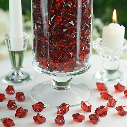 Efavormart 300 pcs Burgundy Large Acrylic Ice Crystals Wedding Party Table Scatters Decorations for Banquet Events - Ice Burgundy
