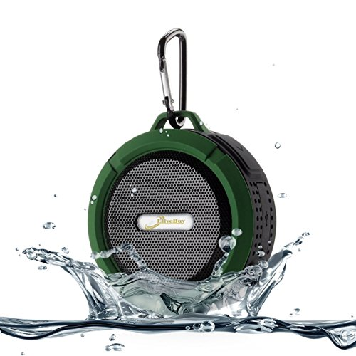 Shower Speaker, Elivebuy Waterproof Bluetooth Speaker (V4.2) with 5W Driver, Suction Cup, TF Card Function, Built-in Mic and FM Radio - Army Green (Updated - C6 Search