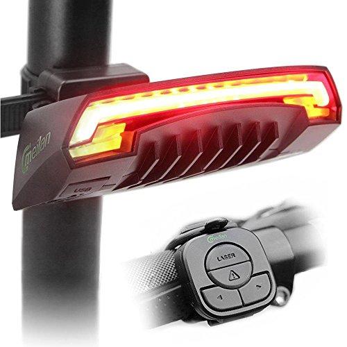 Meilan bicicleta luz trasera inteligente X5 USB recargable control remoto inalámbrico los láseres intermitentes para...