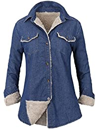 Howels Women Denim Shirt Faux Fur Lined Casual Soft Jacket