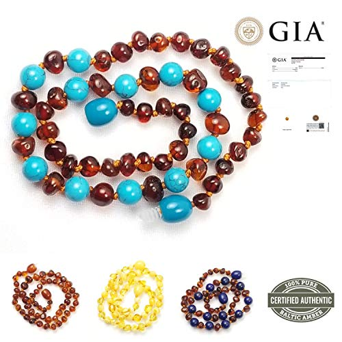 (New Blue Rabbit Co Baltic Amber Teething Necklace for Babies   Improved Natural Oral Relief   No More Gels & Tablets   GIA Certified Pure Baltic Amber   Unisex Baby Necklace Cognac/Turquoise )