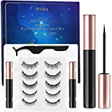 Magnetic Eyelashes With Eyeliner Kit 5-Different Lengths&Different Densities 3D Magnetic Eyelashes False Lashes Natural Look-No Glue Needed (5-Pairs With 2-Eyeliner)