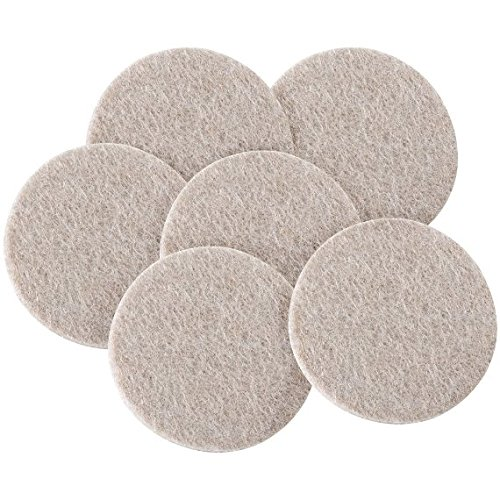 Bulk Hardware BH01177 Thick Self Adhesive Round Heavy Duty Felt Pads, 50 mm (2 inch) x 4 mm - Pack of 6