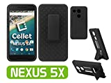 Cellet Premium Black Heavy Duty Shell / Holster / Kickstand Combo Cover Case with horizontal / Vertical Spring Belt Clip for Google Nexus 5X Retail Packaging