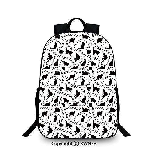 Travel waterproof schoolbag,Cat Silhouette and Animal Tracks Pattern Paws Footprints Kitties Different Poses Decorative Travel College School Bags Black and White