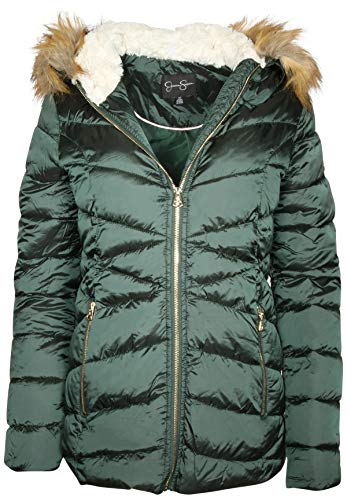 - Jessica Simpson Women Nylon Quilted Bubble Jacket with Faux Fur Lined Hood, Forest Green, Large'