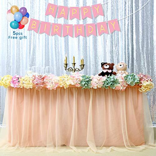 QueenDream Table Skirt 6 feet Long Table Skirts Light Peach Table Skirt Table Fabric Skirt Tulle Table Skirt Tea Party