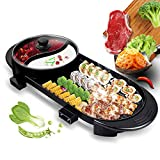 Uttiny Portable Electric Grill, 2000W Electric Indoor and Ourdoor Shabu Shabu Hot Pot with Barbecue Medical Stone Non-Stick Pan for 2-12 People Gatherings