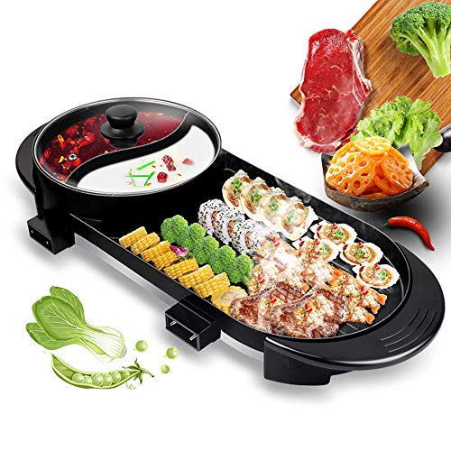- Mein LAY 2 in 1-Hot Pot & Portable Electric Grill, Multi-Function Electric Barbecue and China HuoGuo, with 5 Adjustable Electric Power, 2000W Electric Indoor & Ourdoor Shabu for 1-8 People Gatherings