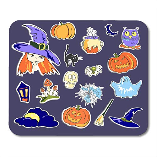 Emvency Mouse Pads Autumn Black Wizard of Halloween on Violet White Abstract Mouse Pad for notebooks, Desktop Computers mats 9.5