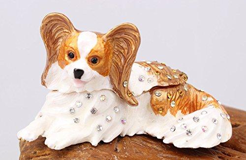 znewlook Papillon Dog Bejeweled Trinket Box Handmade Papillon Dog Keepsake Boxes (85.45 cm)