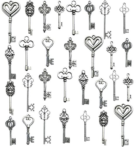 - Korlon Mixed Set of 30 Antique Silver Vintage Skeleton Keys - Decorative Old Fashioned Key for Necklace Bracelets Pendants Jewelry DIY Making Supplies Party Favors - 10 Different Style