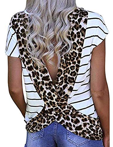 Donnalla Women's Sexy Open Back Blouse Stripe Leopard Printed Short Sleeve T Shirt Casual Summer Tee Top (White, Medium)