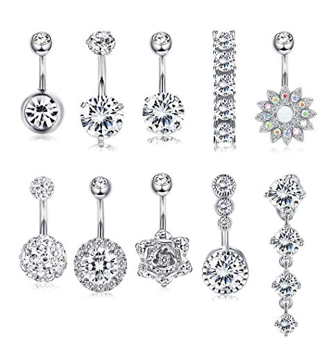 FUNRUN JEWELRY 10PCS 14G 316L Surgical Steel Belly Button Ring Navel Piercing Barbell CZ Inlay Body Piercing Jewelry Silver Tone