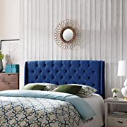 Emma Wingback Queen/Full Tufted Navy Blue Velvet Headboard