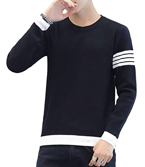 0750979c0 GRMO Men Crewneck Striped Sleeve Pullover Knit Sweater Tops Jumper ...