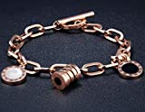 Dalino Fashion and Personality Korean Style Fashion Jewelry Titanium Steel Bracelet Roman Numerals Round Bracelet(Rose Gold)