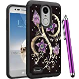 CAIYUNL for LG Zone 4 Case, LG Aristo 2, LG Tribute Dynasty, LG Fortune 2,LG Aristo 2 Plus,Risio 3,K8(2018) Luxury Bling Rhinestone Shockproof Protective Women Men Girls Hard Cover-Black Purple Flower