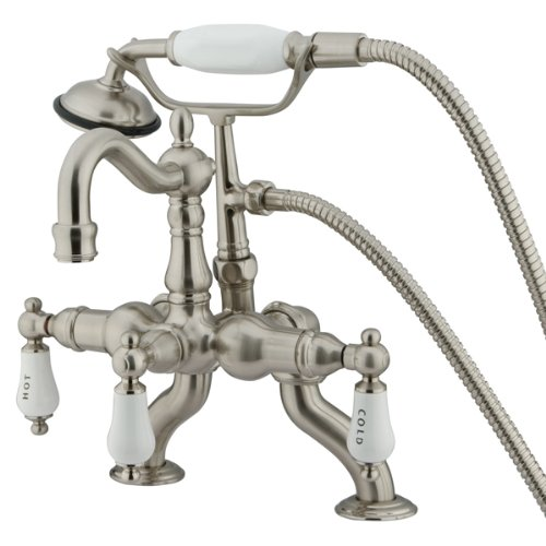 Kingston Brass CC2009T8 3-3/8-Inch to 10-Inch Adjustable Spread Deck Mount Vintage Leg Tub Filler with Handle Shower, Satin Nickel