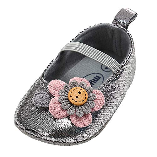 Kasien Baby Shoes, Baby Girl Leather Flower Shoes Keep Warm Fashion Toddler First Walkers Kid Shoe (Dark Gray, 12-18 Months)