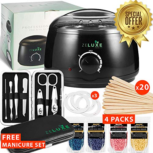 Waxing Kit For Women - Wax Warmer for Hair Removal - Home Waxing Kit - Electric Wax Heater - Hard Scented Wax Beans - For Waxing Eyebrows, Brazilian, Armpit, Legs - Free Manicure Set - Prime]()