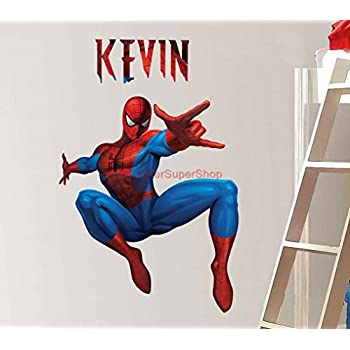 PERSONALIZED SPIDERMAN Decal WALL STICKER Home Decor Art Kids Bedroom C463,  Large