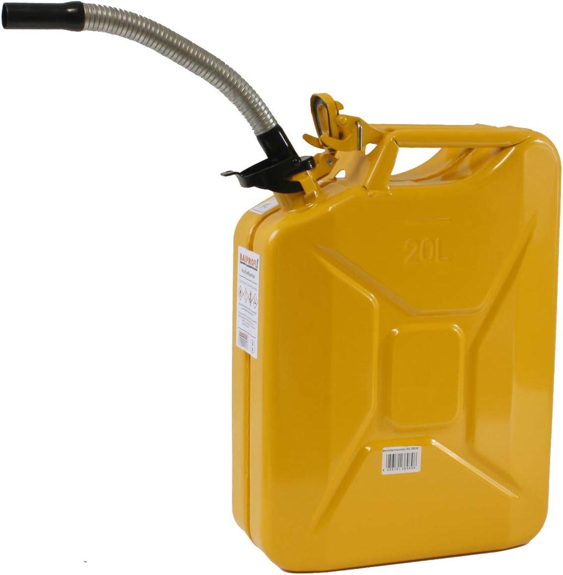 Stahlblechkanister Gelb 20 Liter Dieselauslaufrohr Flexibel Benzinkanister Set Auto