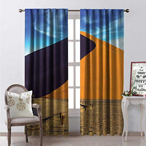 (Hengshu Wilderness Window Curtain Drape The Namib Naukluft at Sun Exotic Tourism South African View Customized Curtains W96 x L84 Blue Marigold and)